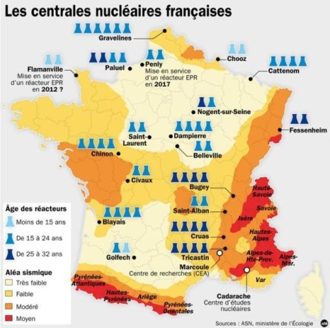 Mappa Le Centrali Nucleari Francesi Tgcom Foto 1